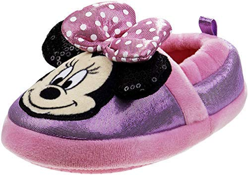Disney Boys and Girls Soft Plush Slip-On Slippers - Minnie and Mickey Mouse (Pink Minnie, Numeric_11)'
