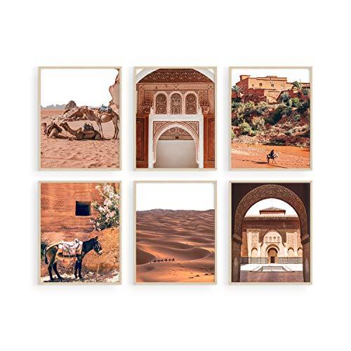 "Haus and Hues Desert Art Print and Boho Wall Decor - Set of 6 Moroccan Wall Art Prints for Wall Decor   Desert Wall Art Boho Moroccan Wall Decor Desert Decor Moroccan Art Wall Decor   UNFRAMED 8""x10"""