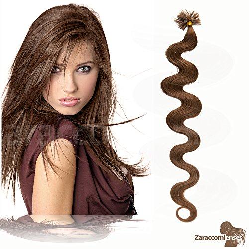 Kératine Hair Extensions de U Tip en 06 Marron Moyen – 100% Cheveux Naturels Remy Mèches de 60 cm de 1G Poids des cheveux
