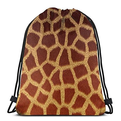 Lmtt Mochila con cordón Mochila deportiva Mochila deportiva Bolsa de viaje Estampado de jirafa