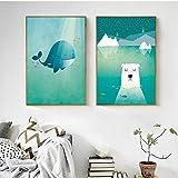 LLXHGEstilo De Dibujos Animados Hermosas Ballenas Y Osos Polares Ocean Iceberg Lienzo Pintura Carteles E Impresiones Cuadros De Pared para Sala De Estar Decoración-50X70Cmx2Pcs Sin Marco