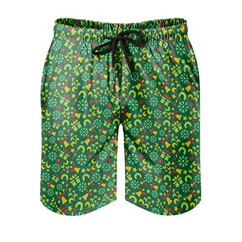 Dessionop Men's Swimming Trunks Merry Christmas Bell Snowflake Gift Print Water Shorts with Pocket Lining Travel White 5XL