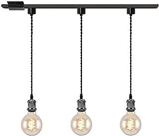 Kiven 3-Light H System Track Mini Pendant, Pearl Black Finish Lamp Holder Fitting Track Light Kit, Rose Pendant Braided Fabric Flex Cord Length 31.5 in,TB0123-80CM