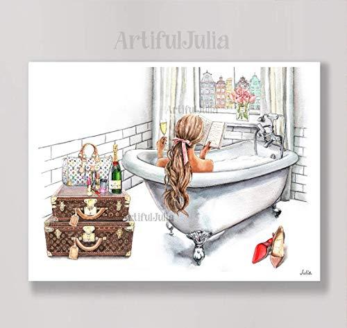 Gdansk Poland Fashion art print of watercolor painting, woman bathtub illustration-Matte Paper Print & Stretched Canvas Print