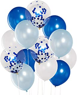 JOJO FLY 40 Pcs Assorted Blue and White Balloons Set, 12 Inch Blue Confetti, Dark and Light Blue Latex Balloons for Blue Theme Party Decorations 1st Birthday Boy Baby Shower Balloon Garland Arch