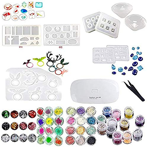 1 Unids Mini UV LED Lámpara, 1 Pinza 4 Kit Set de Decoración, 9 Unids Molde de Silicona Transparente Para Artesanía Joyería Pendientes Collar Pulsera Arte de uñas