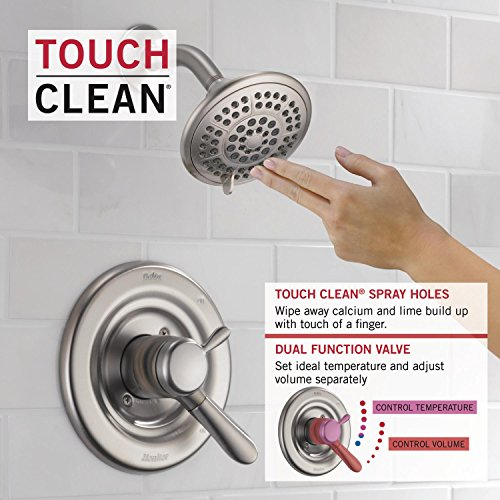 Delta Faucet Lahara 17 Series Dual-Function Tub and Shower Trim Kit with 5-Spray Touch-Clean Shower Head, Stainless T17438-SS (Valve Not Included)