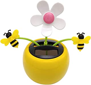 Iuhan  Flower Bees Solar Powered Bobble Head Toy for Kids Solar Powered Dancing Flower Swinging Animated Dancer Toy Car Decoration New (D)