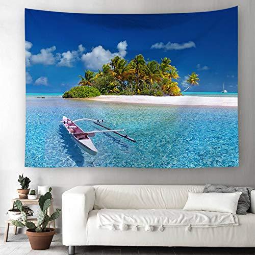 Bishilin Polyester Tapisserie Lang Meer Ruderboot Kokospalme Wandbehang Vintage 200×150CM Wandteppich Zimmer Wall Hanging Hippie Tapestry