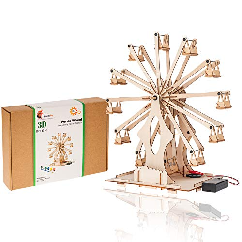 Wooden Ferris Wheel Building DIY Model Kits for Adults, Teens and Kids | Educational STEM Toys for Boys and Girls | 3D Puzzles Science Kits for Kids Ages 8 9 10 11 12 | Mechanical Assembly Stem