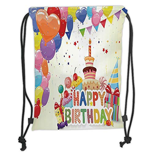 Fevthmii Drawstring Backpacks Bags,Birthday Decorations,Heart Shaped Funny Balloons Cupcakes Candies Presents and Party Hats,Multicolor Soft Satin,5 Liter Capacity,Adjustable String Closure