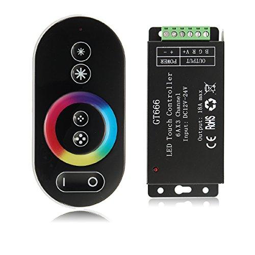 Tutoy Contrôleur Tactile Dc12V-24V 18A RF contrôleur de gradateur sans Fil à LED pour Bande Lumineuse RGB