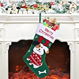 Patimate 11.8' Christmas Stockings - Green Non-Woven Cute Dog Christmas Stockings for Family, Kids,...