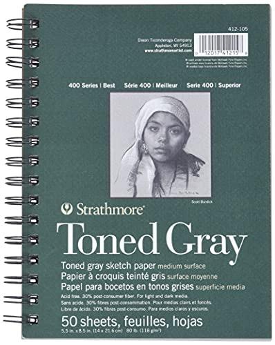 Strathmore, Cuaderno en Espiral para Bosquejos Colorido Gris 5.5 X 8.5 50 Hojas