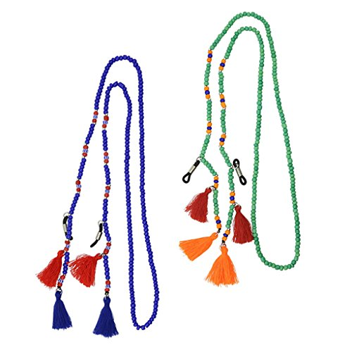 75cm Bandas de Gafas de Sol al Aire libre Cadena, Material de Perlas de Vidrio Filamento - Verde claro, azul oscuro, 75cm