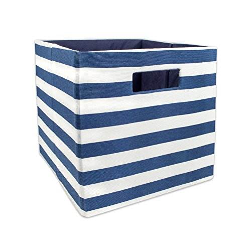 DII Hard Sided Collapsible Fabric Storage Container for Nursery, Offices, & Home Organization, (11x11x11) - Stripe Nautical Blue