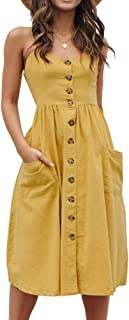Women's Summer Dresses, Floral Boho Spaghetti Strap Button Down Swing Midi Beach Dress with Pockets