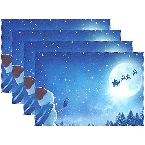 sunnee-shop Kerstsneeuwpop-paard placemats placemats hittebestendig afwasbaar antislip wasbare polyester tafelsets set van 6