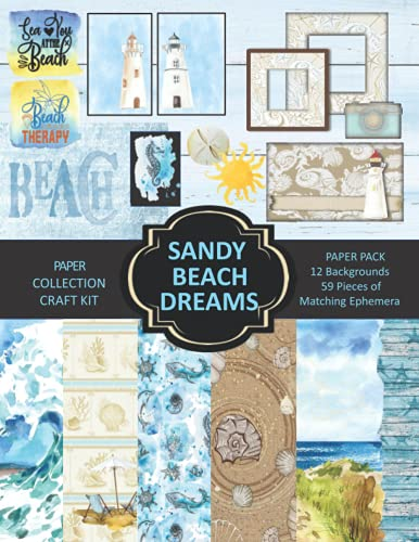 Compare Textbook Prices for Sandy Beach Dreams Paper Collection Craft Kit: Paper and Ephemera Pack for Scrapbooking, Card Making, Decoupage, or Mixed Media Arts  ISBN 9798528236711 by The Handmade Attic