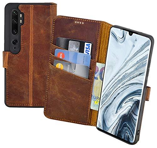 Suncase Book-Style Hülle kompatibel mit Xiaomi Mi Note 10 Pro Leder Tasche (Slim-Fit) Lederhülle Handytasche Schutzhülle Hülle mit 3 Kartenfächer in antik-Coffee