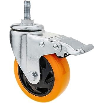 PrimeMatik Rueda pivotante industrial de poliuretano con freno 75 mm M12