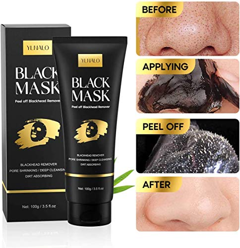 Blackhead Remover Mask Kit, Charcoal Peel Off Facial Mask with Facial Mask Brush and Pimple Extractors, Deep Cleansing Facial Mask for Face Nose Blackhead Pores Acne, For All Skin Types (3.5 Fl.oz)