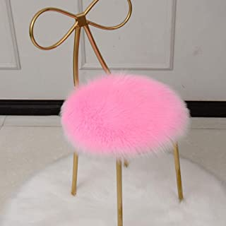 Mqing Faux Sheepskin Cover Seat Cushion,Super Soft Chair Pad Hairy Region Fluffy Area Rug Plush Round Comfortable for Bedroom Chair Cushion-Diameter 100cm-D