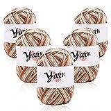 Juego de lana 5x 50 g lana de tejer, lana para crochet, juego de lana de ganchillo hecho a mano, hilo acrílico de colores variados para ganchillo y artesanías, mantas, prendas de bebé,muebles khaki