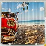 Cortina de Ducha para niños, Juego de Cortina de Ducha con Ganchos, Coche clásico Americano en la Playa Cayo Jutias Provincia Pinar del Rio Cuba Decoración Impermeable Baño