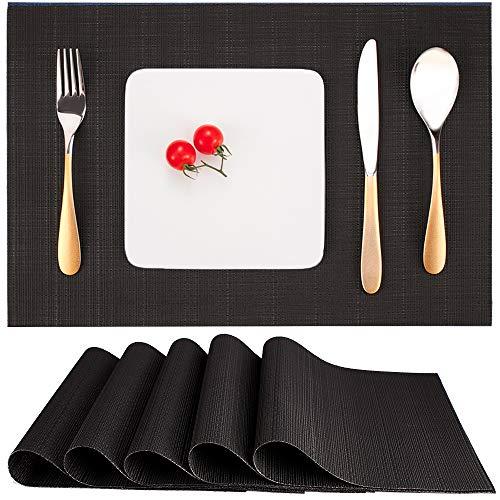 Myir JUN Set de Table Lot de 6, Set Table Lavable Résiste à la Chaleur Antidérapant Tissé Sets de Table PVC Vinyle pour Cuisine Table à Manger 30x45cm (Noir)