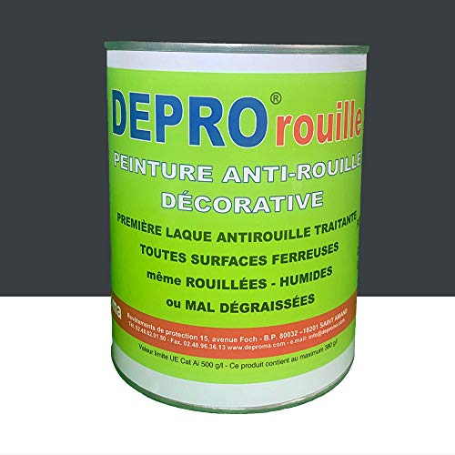 Deproma - Peinture professionnelle glycéro Fer Antirouille métaux 1KG - RAL 7016 Gris anthracite