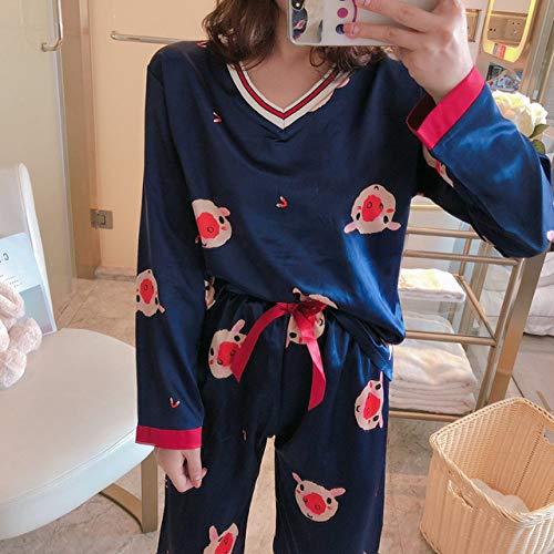 JFCDB Nachthemd V-hals vrouwen zijden pyjama set 2020 lente zomer vrouwen nachtkleding set nep zijden vrouwen pyjama set print lange mouw, C HT 006 lan, L