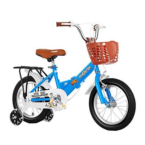 FUFU Prima De Seguridad Bici del Deporte De Los Niños Que Tienen El Pino Y Accesorios, Apto For Niños De 2-13 (Color : Blue, Size : 14in)
