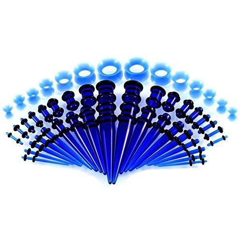 Tagaremuser 50 stück Dehnstäbe Tunnel Set Ohr Dehnstab Expander Plug Set 1.6-10mm Leuchten im Dunkeln mit Flesh Silikon Ohr Tunnel Piercing Set(Blau)