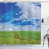 ABAKUHAUS País Cortina de Baño, Camino en la Pradera Rural, Material Resistente al Agua Durable Estampa Digital, 175 x 200 cm, Azul