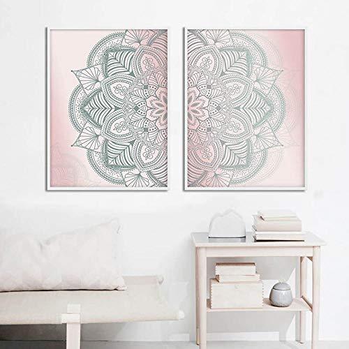 Terilizi Marokkaanse mandala Boho Home Decoration Hd-Print Schilderijen Afbeeldingen Wandkunst Nordic Modular Canvas Poster Nachtkastje Achtergrond 50X70Cmx2 Geen lijst