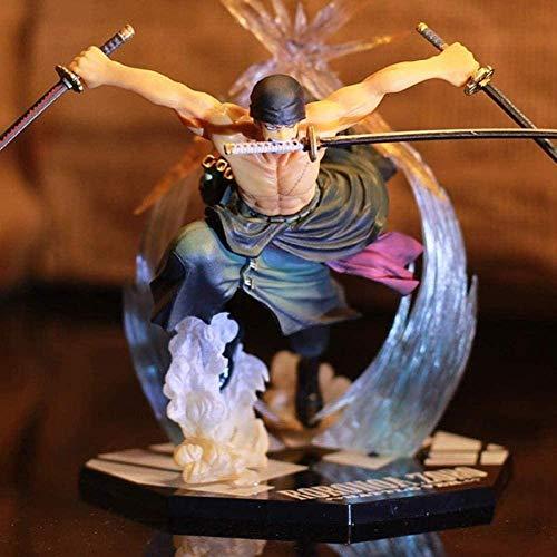 Anime Model Art Statues Collectible Ronoa Zoro Three Cuchillo Ghost Cut Ace Luffy PVC Anime Dibujos Animados Juego Signo Niños Juega Action Figuras 25 cm