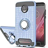 Moto Z Play/Moto Z Play Droid Case with HD Phone Screen Protector,Ymhxcy 360 Degree Rotating Ring & Bracket Dual Layer Resistant Back Cover for Motorola Moto Z Play Droid(2016)-ZH-Metal Slate