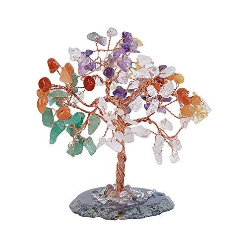 NBEADS 1 juego de árbol de cuarzo natural, piedras en forma de árbol de la vida, dinero de la suerte, Feng Shui, adorno para la riqueza