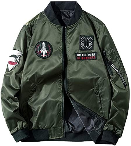 Chaqueta de bombardero ligera Reversible MA-1 para hombre Casual primavera Otoño Invierno chaquetas militares prendas de vestir exteriores con parches chaqueta de béisbol (Army Green-9989#,7XL)