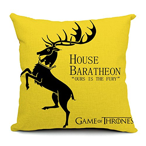 Poens Dream Cuscino, House Baratheon Cotton Linen Decorative Throw Pillow Case Cushion Cover, 17.7 x 17.7inches