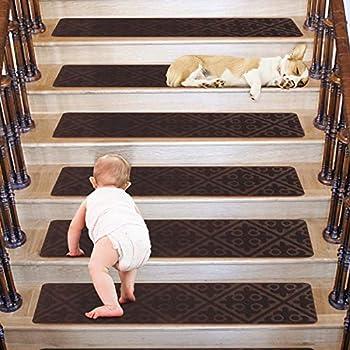 Stair treads Carpet Non Slip- 8 x30 -15 Carpet Stair Treads Indoor-Self Adhesive Stair Treads Carpet for Easy Installation-Peel and Stick Stair Tread Carpet Non Slip for Kids Pets Elder Pattern Brown
