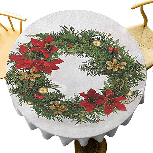Christmas Tablecloth - 55 Inch Celebration Round Table Cloth Floral Wreath Cultural Design Poinsettia Blossoms Holly Pine Cone Branches Seamless Design Green Red Gold