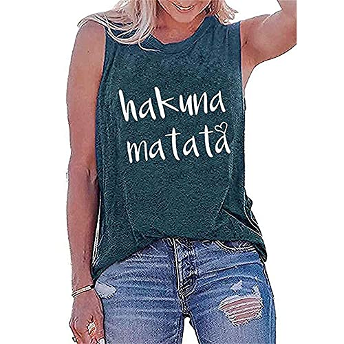 Blusa Mujer Tendencia Moda Verano Cuello Redondo Mujer T-Shirt Exquisita Simplicidad Letras Impresión Sin Mangas Diseño Diario Casual Suelto Vacaciones All-Match Mujer Camisola B-Green M