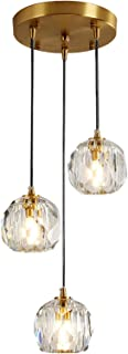 HJXDtech Mini Suspension Luminaire en cristal, Lustre de plafond en cristal et laiton, Lampe suspendue à LED G9 pour cuisi...