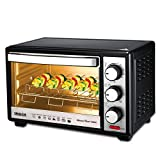 Inalsa MasterChef 19 BKR OTG-1300W, Motorised Rotisserie & Temperature Selection|6 Stage Heat Selection|Powder Coated Finish, (Black)