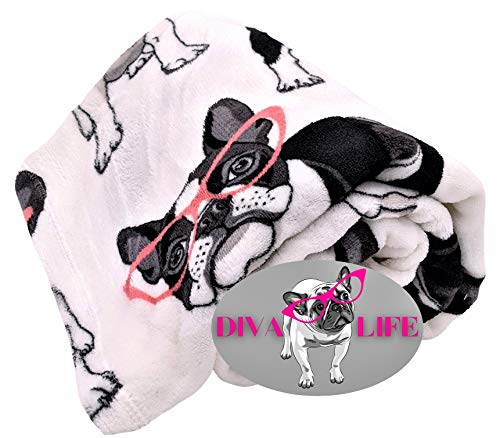 DBD Home Fun Print Soft Cozy Lightweight 50 x 60 Fleece Throw Blanket with Fun Magnet! (French Bulldog with Pink Glasses)