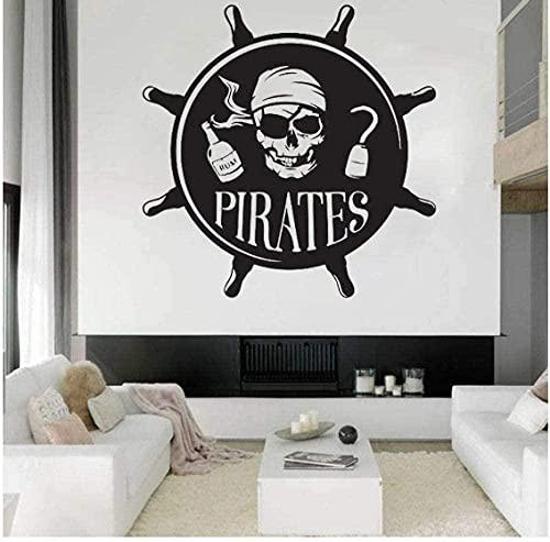 Pirates Art Stickers Muraux Enfants Chambre Stickers Muraux Chambre Décoration Salon Décor Garçons Filles Tatouage Capitaine Auto-Adhésif 57X57Cm