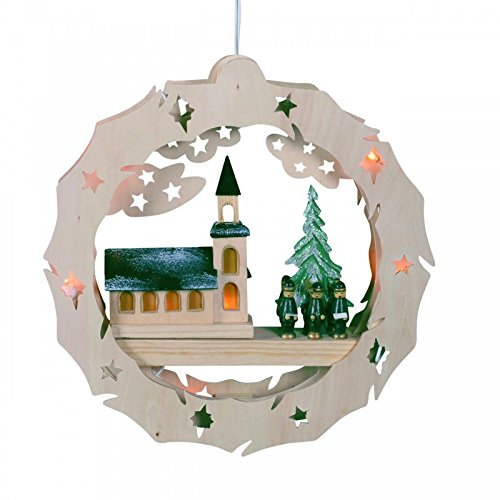 Beleuchtetes, weihnachtliches Fensterbild aus Holz, Kirche & Kurrende