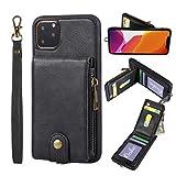 AZXIAOY Brieftasche Handyhüllen Cases Multifunktion Leder Handys Mit Kartenfächer Geldscheinfach Mit Reißverschluss Handy Schutzhülle,4 Farben,Black-iPhone11Pro